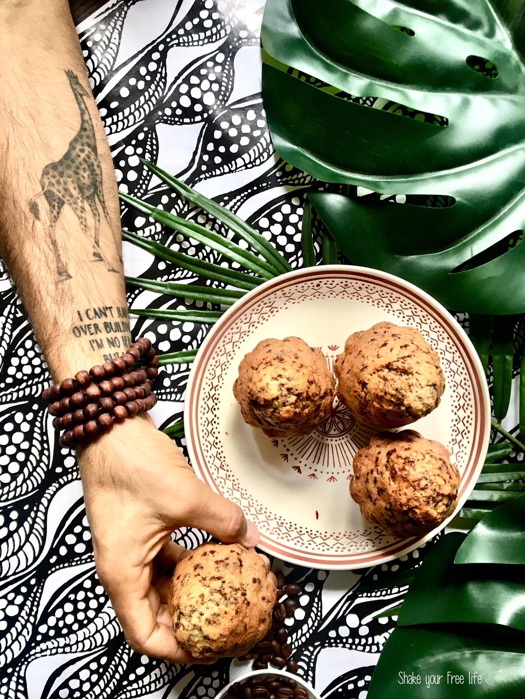 Muffin ghepardo senza glutine con yogurt al caffè e cioccolato