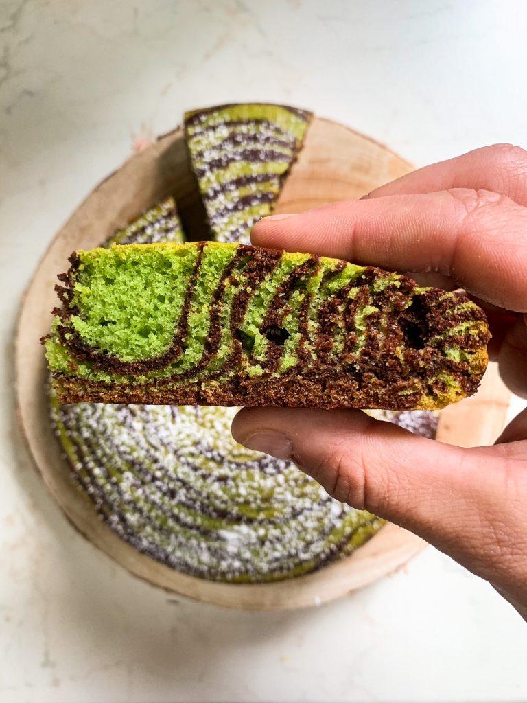 Torta zebrata senza lievito alla menta e ciocolato